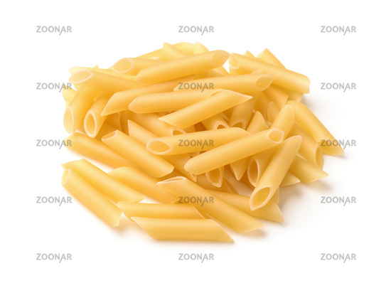 Pile of uncooked penne pasta