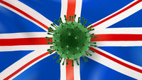 Coronavirus bacteria on the background of British flag.