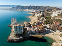 Aerial drone point of view Cullera townscape. Spain