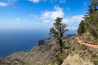 Rugged mountain path in the northwest of the island of La Gomera (below is Taguluche)