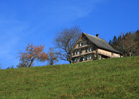 Traditional old farm house in Schwyz Canton, Switzerland.