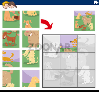 jigsaw puzzle game with happy dog characters
