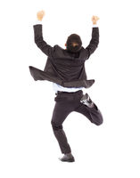 excited businessman raising hands while running ha