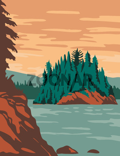 Isle Royale National Park and of islands in Lake Superior Michigan United States WPA Poster Art Color