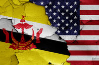flags of Brunei and USA painted on cracked wall
