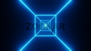 Blue wireframe tunnel fly through 3d illustration background wallpaper