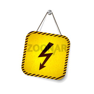 High voltage grunge warning sign hanging on the rope isolated on white