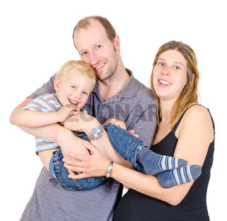 Happy family with pregnant mother playing Isolated