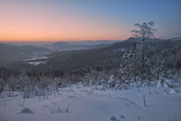 Winter evening in bavarian Forest,Germany