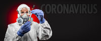Banner of Female Doctor or Nurse In Medical Protective Gear Holding Positive Coronavirus Test Tube With Coronavirus Text Behind
