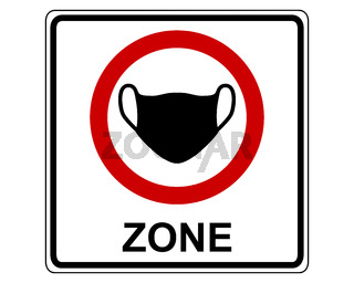 Verkehrsschild zur Maskenpflicht aus weiss - Traffic sign mandatory use of face masks
