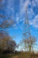 Mast of a mobile phone provider on the outskirts of the city of Magdeburg in Germany