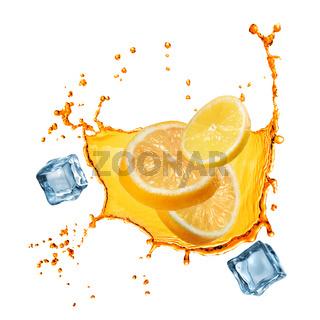 flying slices of orange and lemon in juice splash isolated on white