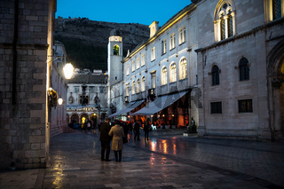 Night scene along museum and Palaca Grada in Dubrovnik at New Years Eve with cristmas decoration, Croatia