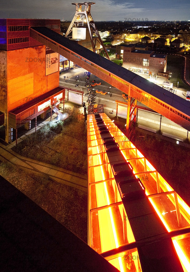 Zeche Zollverein Coal Mine Shaft XII with headframe, illuminated at night, Essen, Germany, Europe