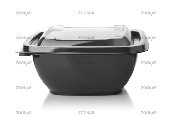 Black plastic disposable take out food container