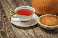 cup of tea and pumpkin pie