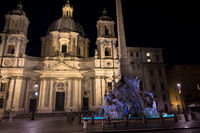 Piazza Navona (Navona's Square), in Rome, Italy, with the famous Bernini fountain by night.