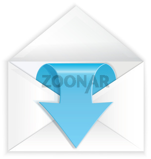 White envelope blue arrow symbol