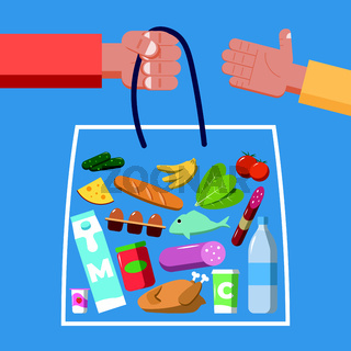 Package of food and drinks. Purchase and delivery concept. Flat vector illustration
