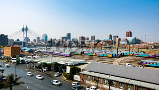 High Angle view of Nelson Mandela bridge and passenger railway line in Braamfontein Johannesburg CBD
