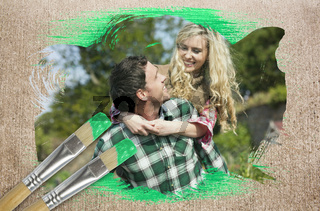 Composite image of happy couple in the countryside