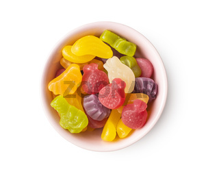 Colorful fruity jelly candies in bowl.