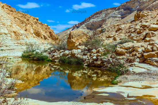 The canyon and sky are reflected in the water