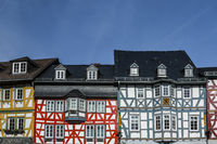 Half-timbered Houses at Historic Market Place in Bad Camberg, Hesse, Germany