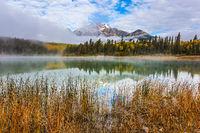 Patricia Lake reflects the Pyramid Mountain