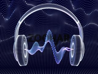3D headphone with sound waves on dark background.