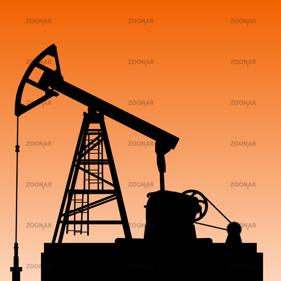 Oil pump jack. Oil industry equipment. Vector illustration.