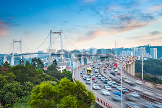 beautiful xiamen haicang bridge in sunset