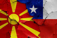 flags of North Macedonia and Chile painted on cracked wall