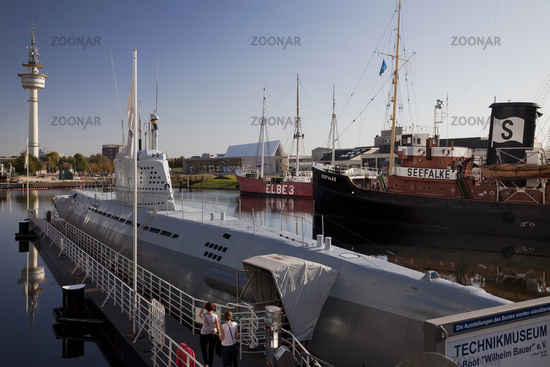 Museum harbor with the Wilhelm Bauer submarine, German Maritime Museum, Bremerhaven, Germany, Europe