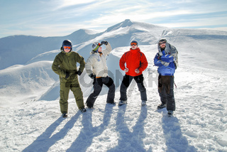 group of snowboarders