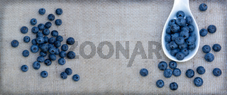 Blueberry in spoon isolated on a cloth background.