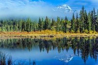 The blue water of the Patricia Lake