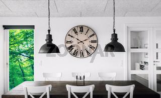 Retro clock over a table