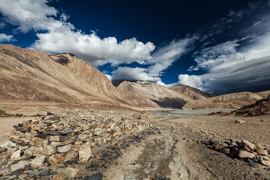 Himalayan landscape in Nubra valley in Himalayas. Ladakh