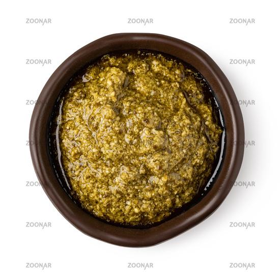 Bowl with pesto sauce