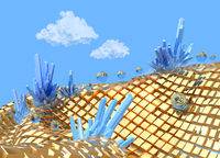 Field of Golden cubes in space with blue precious crystals with clouds and skies. 3d illustration abstract landscape