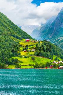 Norway village and fjord landscape