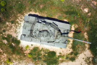 Aerial top view of a military tank.