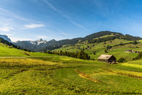 Landscape with pastures and farm houses, Toggenburg, Canton St. Gallen, Switzerland