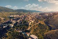 Aerial view charming Bocairent village. Spain