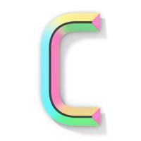 Neon color bright font Letter C 3D