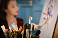 paint brushes closeup