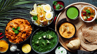 Indian food and indian cuisine dishes, copy space