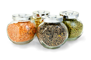 Lentil different and pea flakes in jars